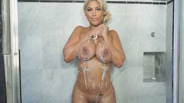 Marvelous pornstar Bridgette B exposes her perfect curves in the shower room