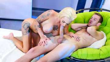 Harlow Harrison rides his monster cock reverse cowgirl then gives him a great titty fucking