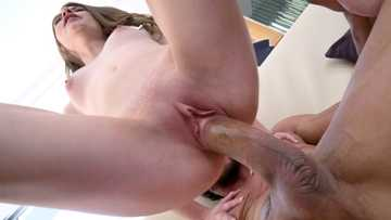 Skinny stepdaughter Alice March rides cock of stepdad reverse cowgirl style
