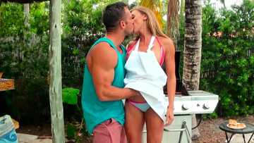 Cheating wife Kate Linn tastes her horny neighbor's sausage in the backyard