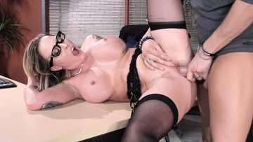 Big breasted teacher Payton West fucked hard in the office