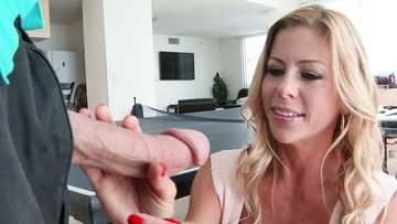Sexy blond MILF Alexis Fawx came to help her friend's husband and made the big dick worship for him.