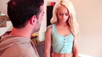 Elsa Jean gives blowjob with balls licking to her stepbrother Jake Adams