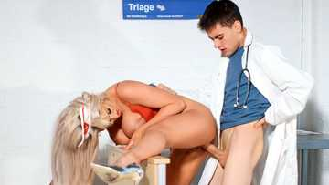 Hot nurse in red lingerie Brooklyn Blue pleases a young doctor with intense sex