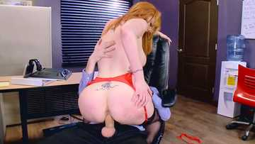 Ginger-head whore in red lingerie Lauren Phillips slides upon hot prick