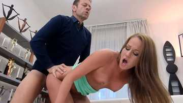 Rocco fucks shit out of Hungarian brunette Angel Blade in doggy style pose