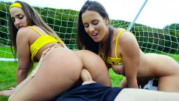 Sports team girls Amirah Adara & Mea Melone fuck with monster cock of coach