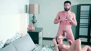 Passionate wife with big fake knockers Jessa Rhodes gets her pussy loved by muscular lecher